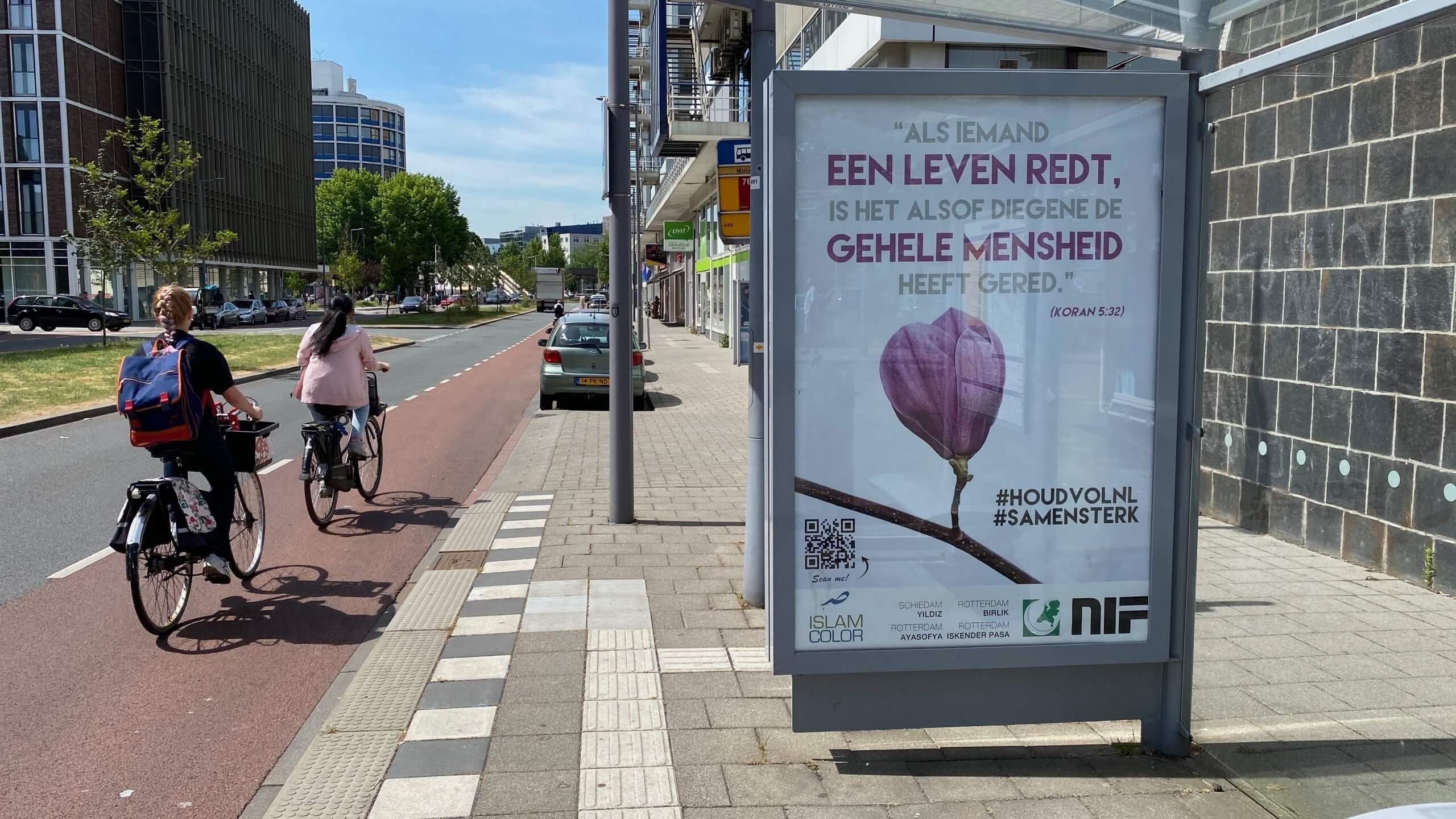 Hollanda'da Kovid-19 mücadelesi veren halka ayet ile destek