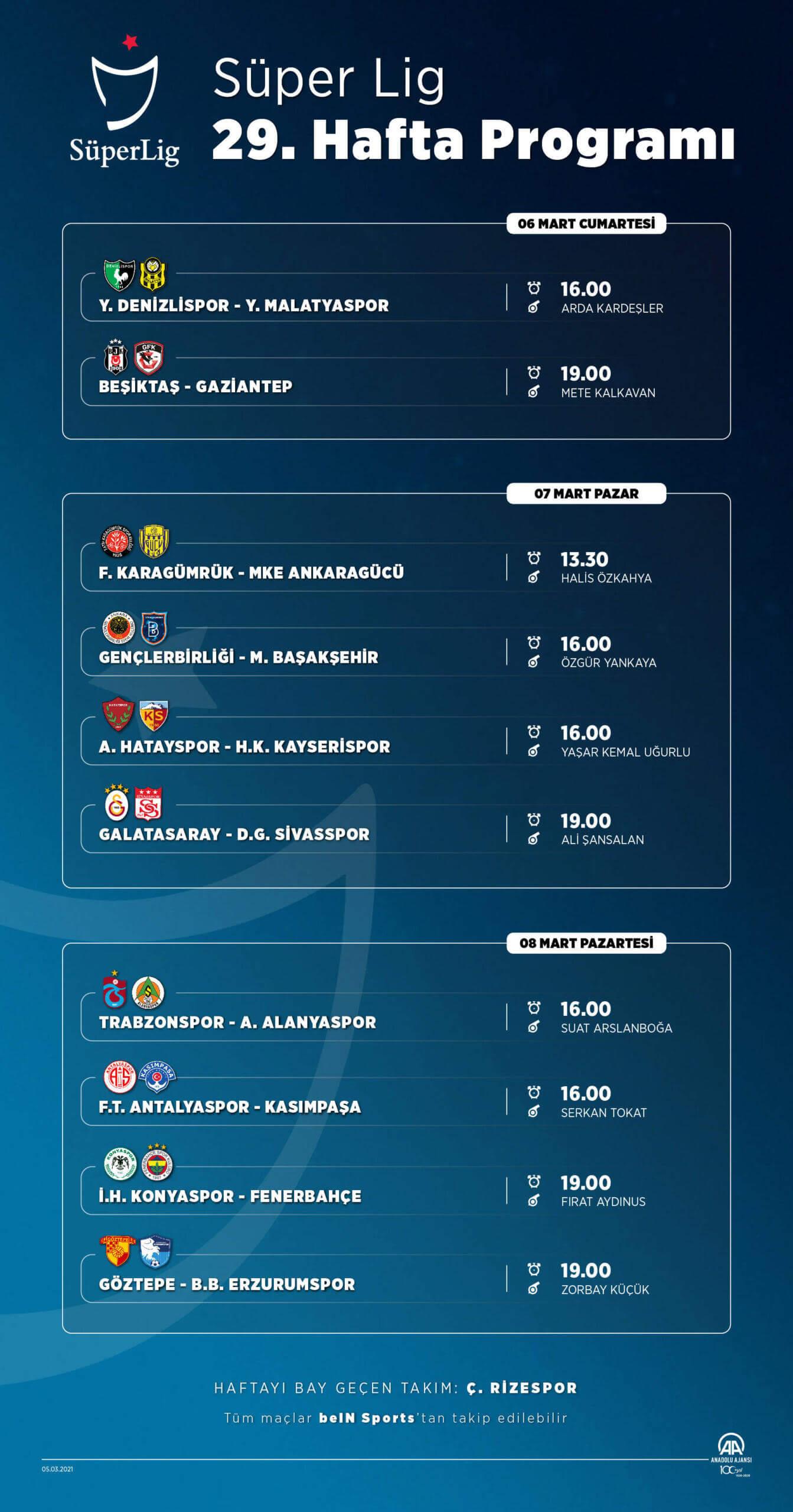 Süper Lig'de 29. haftanın programı